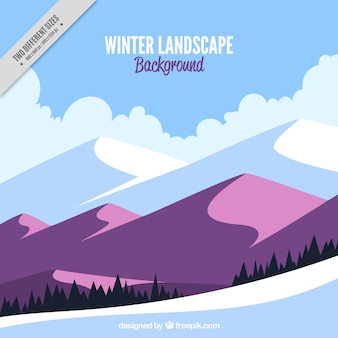 Winter background with mountains in purple