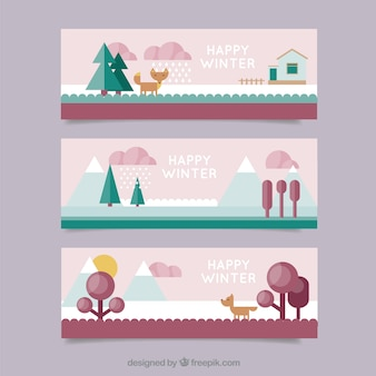 Winter banners set in flat design style