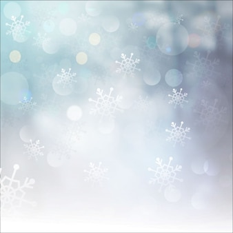 Winter bokeh background with snowflakes