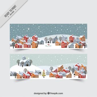Winter cityscape banner set