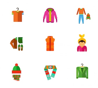 Winter clothes icons collection