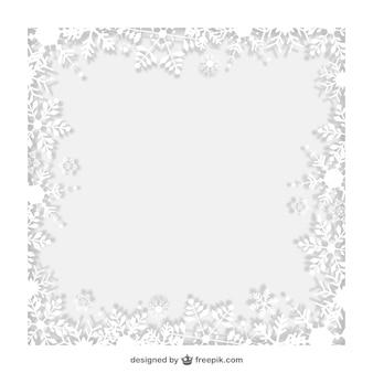 Winter frame with white snowflakes