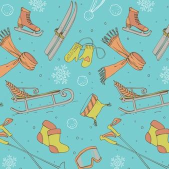 Winter fun seamless pattern