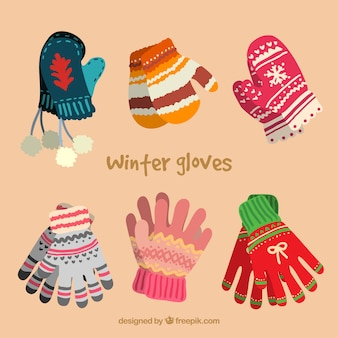 Winter gloves collection in cute style