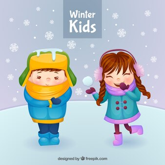 Winter kids with snowy scene