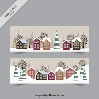 Winter landscape banners with houses in flat design