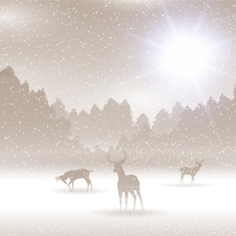 Winter landscape with deers