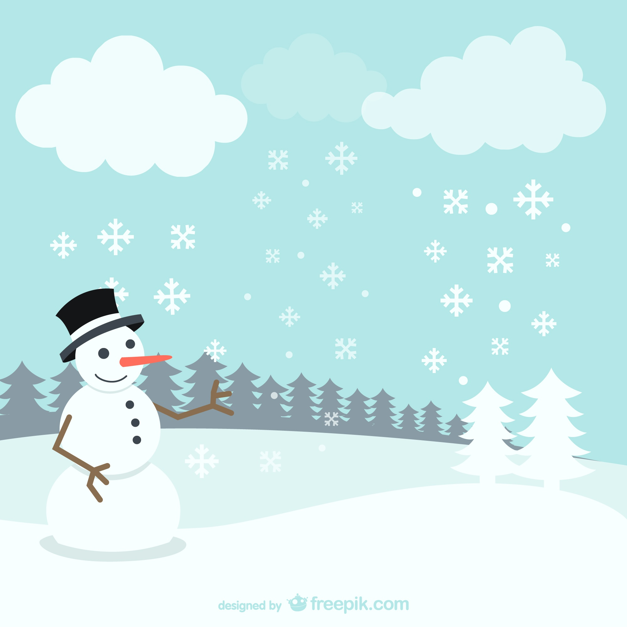 Winter landscape with snowman