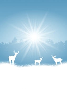 Winter landscape with white deer silhouettes