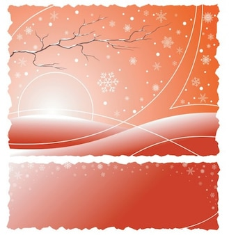 Winter morning with snowflakes abstract background