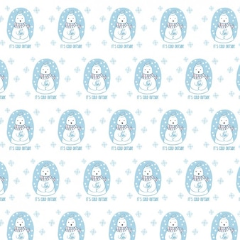 Winter pattern with polar bear