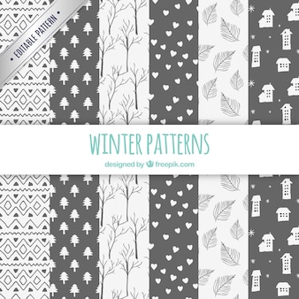 Winter patterns collection in hand drawn style