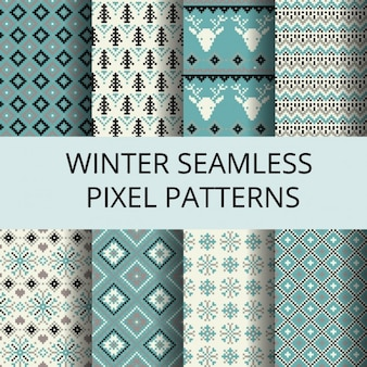 Winter patterns made with pixels