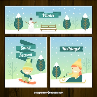 Winter season cards and banner