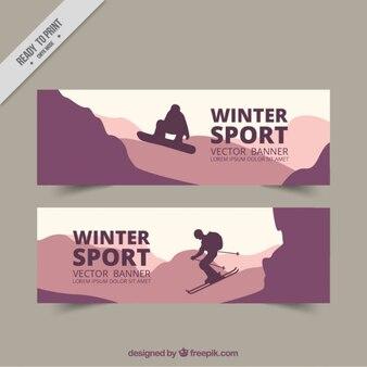 Winter sport banners in purple tones