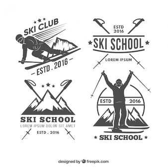 Winter sports retro stickers pack