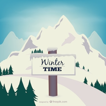 Winter time sign with snow-covered mountain