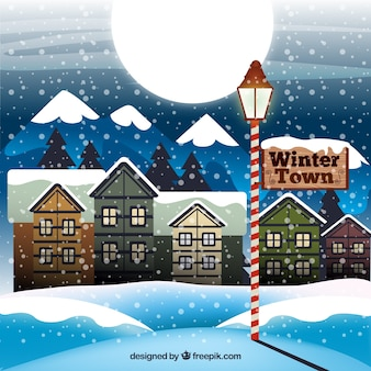 Winter Town Illustration