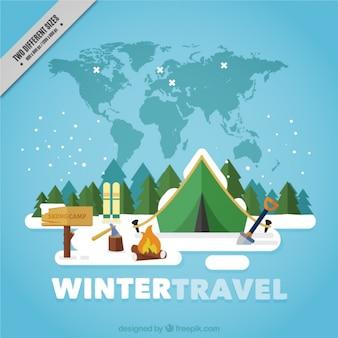 Winter travel background