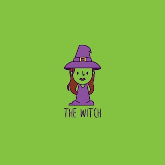 Witch logo on green background