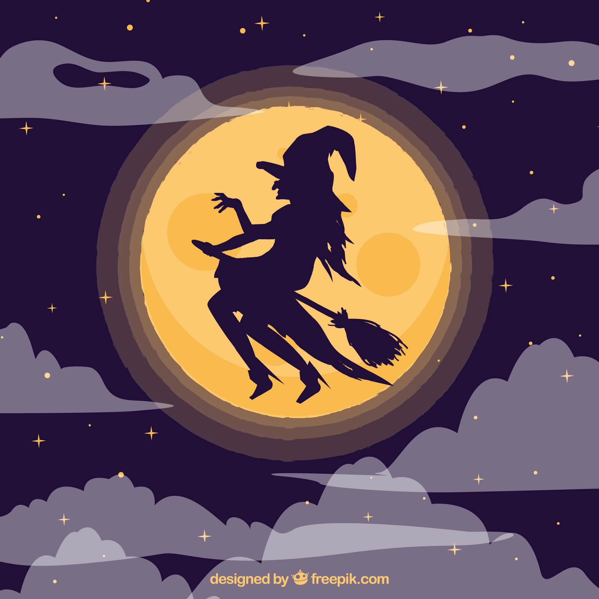Witch silhouette flying background