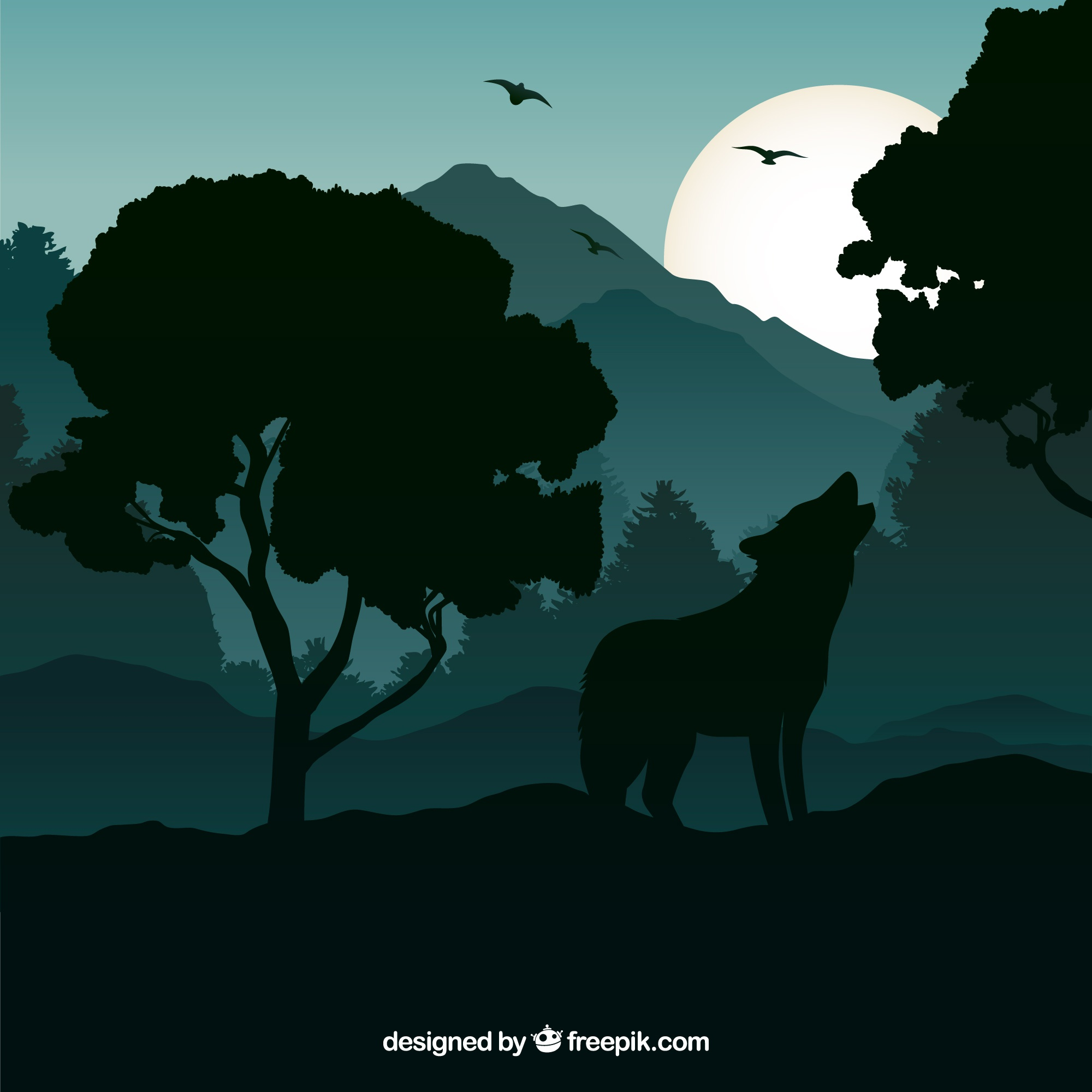 Wolf background howling at night