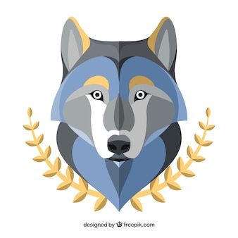 Wolf background with golden decorative leaves
