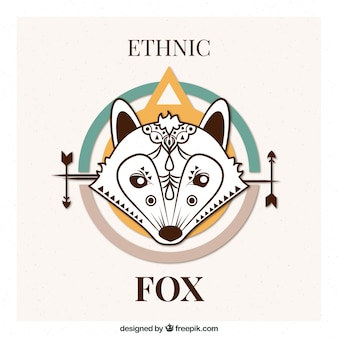 Wolf ethnic background in abstract design
