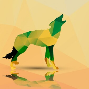 Wolf made of polygons background