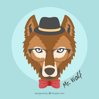 Wolf with hat and glasses background
