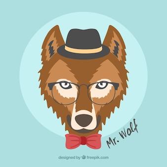 帽子と眼鏡の背景を持つオオカミ