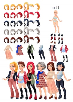 Woman characters with different dresses and hairstyles