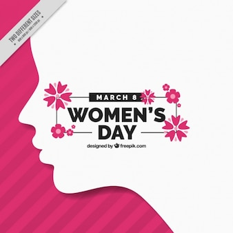 Woman day background with silhouette