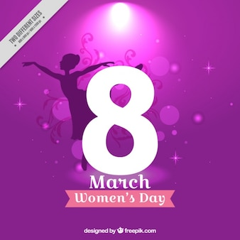 Woman day ballerina silhouette background