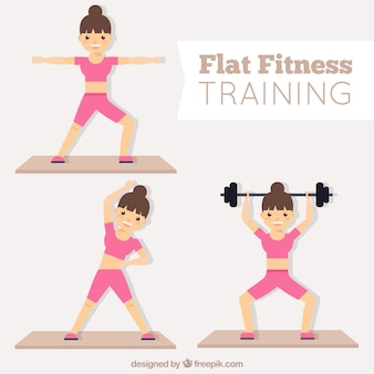 Woman doing fitness in flat design