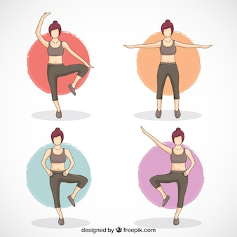 Woman doing four different exercises