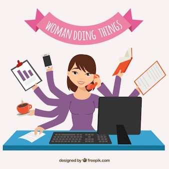 Woman doing things
