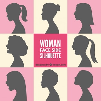 Woman face side silhouettes