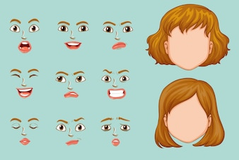Woman faces with different expressions