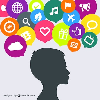 Woman head and social icons