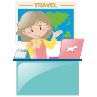 Woman in a travel office