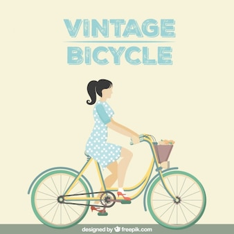 Woman on a vintage bicycle