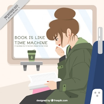 Woman reading and quote background