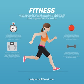 Woman running with health-related icons