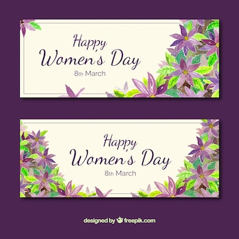 Woman's day banners with watercolor flowers