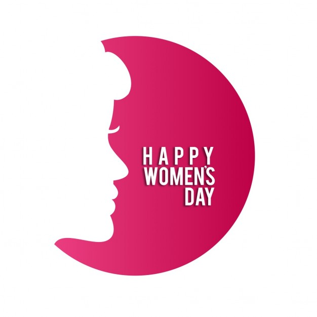 Woman's day, red background with a silhouette