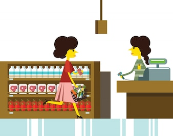 Woman shopping in supermarket, cashier and retail.