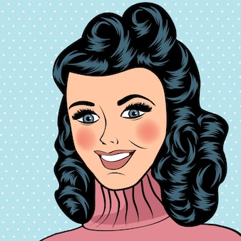 Woman smiling, comic style
