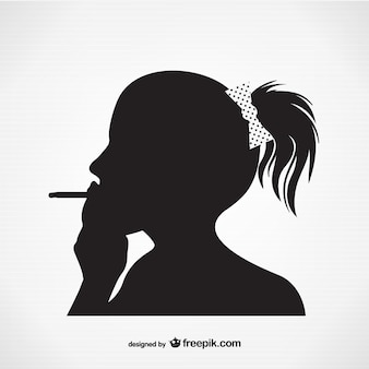 Woman smoking silhouette