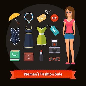 モデルと女性の夏のファッションセールセット